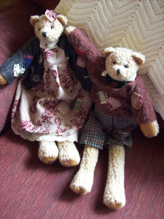 Reserved for Terri SALE Poor Teddy and Mrs. Teddy Bear in Tattered Clothing Collectible Home Decor Was 18.00