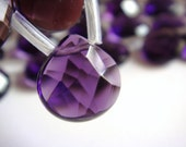 2. Amethyst Quartz 13x13mm Faceted Briolette 8 Inches Strand 15pcs Stone Bead