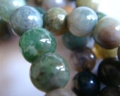 17. Moss Agate 6mm Round Bead 16 Inches 75 Pcs Stones Beads