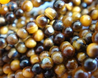 5. Tiger's Eye 2mm Round Bead 16 Inches Strand 188pcs Stones Beads