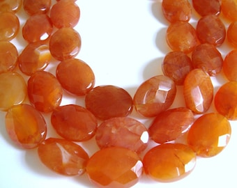 11. Carnelian 9x12mm Faceted Oval 16 Inches Strand 32pcs Stone Bead