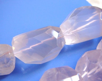 33. Pink Chalcedony 18x24mm Faceted Nugget Shape 2 pcs Stone Bead