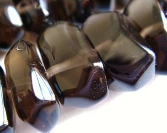 33. Smoky Quartz 10x15mm Smooth Rectangle Nugget 8 Inches Strand 25 pcs Stone Bead