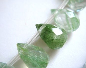 16. Green Moss Agate 5x7mm Faceted Briolette 8 Inches Strand 28pcs Stone Bead