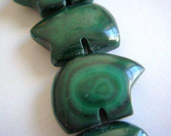 34. Malachite 5x10mm Bear Shape 2pcs Stone Bead