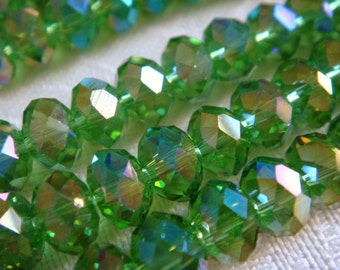 92. Green Crystal AB 4x6mm Faceted Rondelle 16 Inches 90pcs Stones Bead