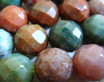 34. Blood Stone 8mm Faceted Round 16 Inches Strand 49 pcs Stone Bead
