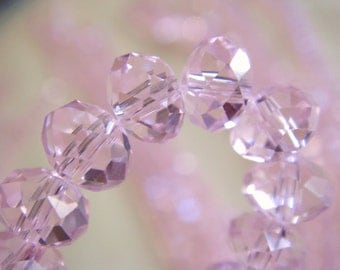 92. Pink Crystal 4x6mm Faceted Rondelle 16 Inches Strand 90pcs Stone Bead