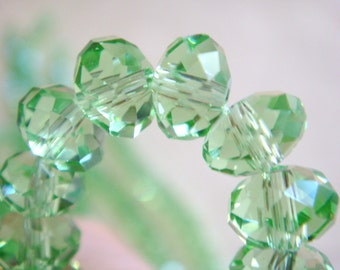 92. Green Crystal 4x6mm Faceted Rondelle 16 Inches 90pcs Stone Bead