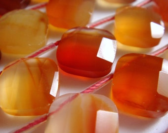 14. Carnelian 10mm or 12mm Faceted Diamond Shape 8 Inches Strand 15 Pcs Stones Beads