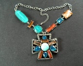 50% Off SALE - Faux Jeweled Necklace in shades of turquoise and amber with rhinestone accents