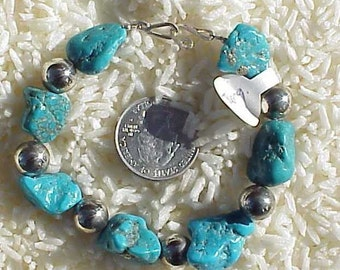 Chunky Turquoise and Sterling Silver Bead Bracelet, BB4