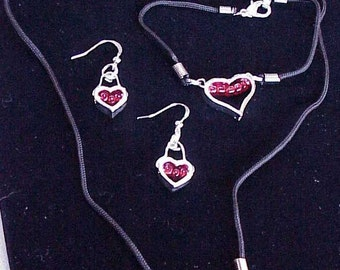 Heart Necklace, Bracelet and Earring Set, Sterling Silver, Set7