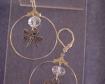 Dragonfly and Swarovski Crystal Dangle Earrings