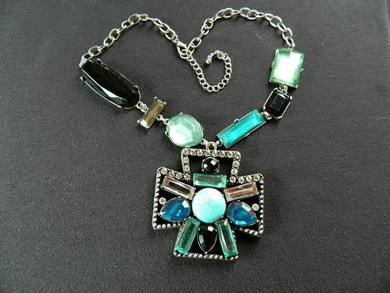 PRICE REDUCED - Faux Jeweled Necklace in shades of turquoise and black with rhinstone accents - FREE Shipping