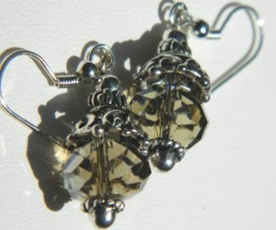 SALE - Smoky Quarts Swarovski Crystal Dangle Earrings with Silver Accents