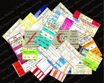 Vintage Classic Concert Ticket Digital Collage Sheet With Instant Download!