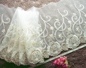 Lace trim Ivory bridal lace embroidered tulle trim 1.5 yards WT157