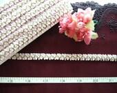 Ribbon trim, Petite floral trim, Rose buds, Doll trim, Pink white and green petite ribbon trim 2 yards NT109