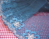 Lace trim,  embroidered tulle, net fabric, embroidered fabric, gray blue lace, 2 yards BL078