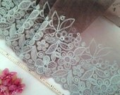 Lace trim, Embroidered lace, Embroidered tulle, Lolita lace, Brown lace trim, Decorative lace,  2  1/2 yards BN081