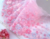 Wedding lace, Lolita lace, Embroidered lace, Lace trim, Tulle lace, Pink lace, Lingerie lace, Embellishing lace,  2 yards VT003