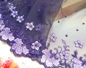 Lace trim, embroidered tulle net fabric, embroidered floral lace, violet trim, mirror cut trim 1 pair 1 yard each VT068L
