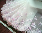 Lace trim, Tulle lace, Embroidered lace, Net lace, Bridal lace, Ivory lace trim, 2 yards WT143