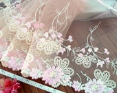 Lace trim, Brown lace, Embroidered lace, Tulle lace, Net lace, Bridal lace, Lingerie fabric, 2 yds BN049