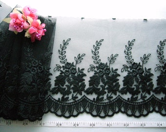 Black lace trim,  embroidered floral tulle mesh net lace trim 2 meters BK139