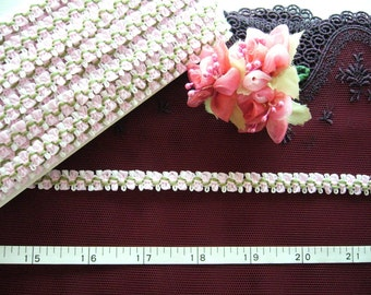 Ribbon trim, Petite floral trim, Rose buds, Doll trim, Pink white and green petite ribbon trim 2 yards NT109