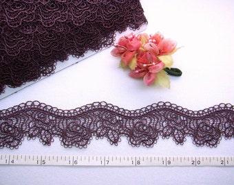 Embroidered trim,  rose trim, purple trim,  venise trim, embellishing trimmings,  5 yards NT237