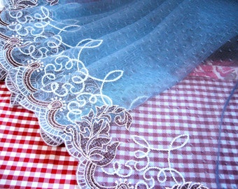 Lace trim, Embroidered lace, Antique design lace, Heirloom lace, Victorian lace, Tulle lace, Blue lace, Embellishing lace, 2 yards BL077