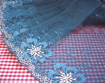Lace trim,  embroidered tulle, net fabric, embroidered fabric, gray blue lace, 1 3/4 yards BL078