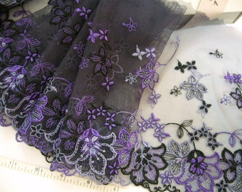 Lace trim, Purple lace, Embroidered lace, Floral lace, Bridal lace, Tulle net trim, Lingerie fabric, 3 yards  VT095