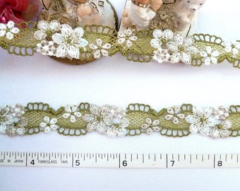 Embroidered trim,  Doll trim, Floral trim, Green/Gray floral sewing trim 4 yards NT242