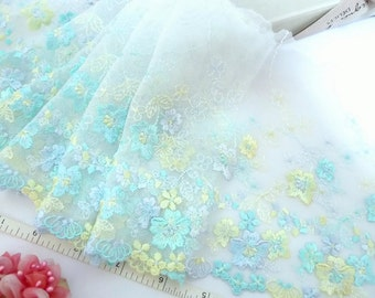 White lace, Tulle lace, Lace trim, Net lace, Embroidered lace, Bridal lace, Doll trim, 2 yards WT203
