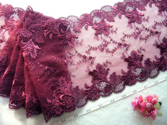 Burgundy double edge embroidered tulle net lace trim 7 inches x 2 ...