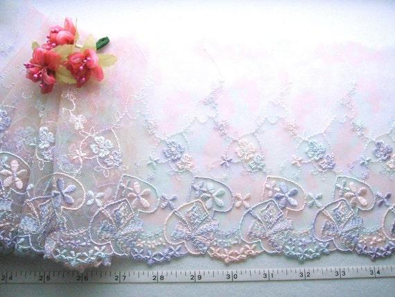 Lace trim, Embroidered lace, Bridal lace, Lingerie fabric, Tulle net lace, Multi colors lace trim,  2 yards PT019