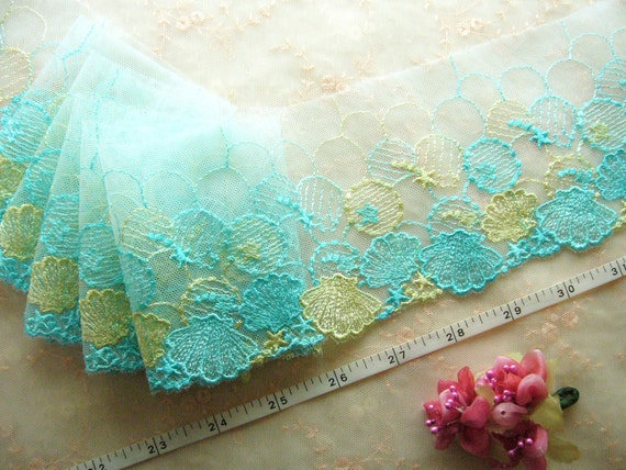 Lace trim, Embroidered lace, Net fabric, Embroidered tulle, Blue lace, Lingerie lace,  2 3/4 yards BL053