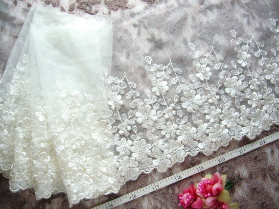 Lace trim, White bridal lace, embroidered tulle net lace trim 2 meters WT180L