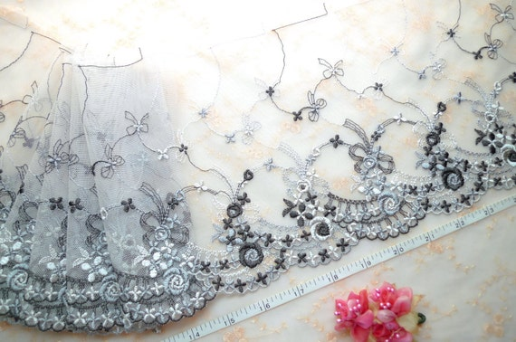 Lace trim, embroidered tulle, gray net, embroidered flowers, soft mesh trim 2 1/2yards GY022