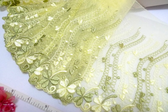 Lace trim Yellow lace embroidered floral tulle net trim 2 yards YL23