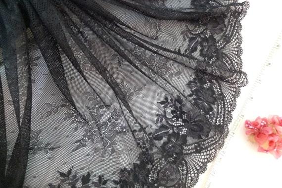 Black lace, floral, stretch fabric 2 yards BK098