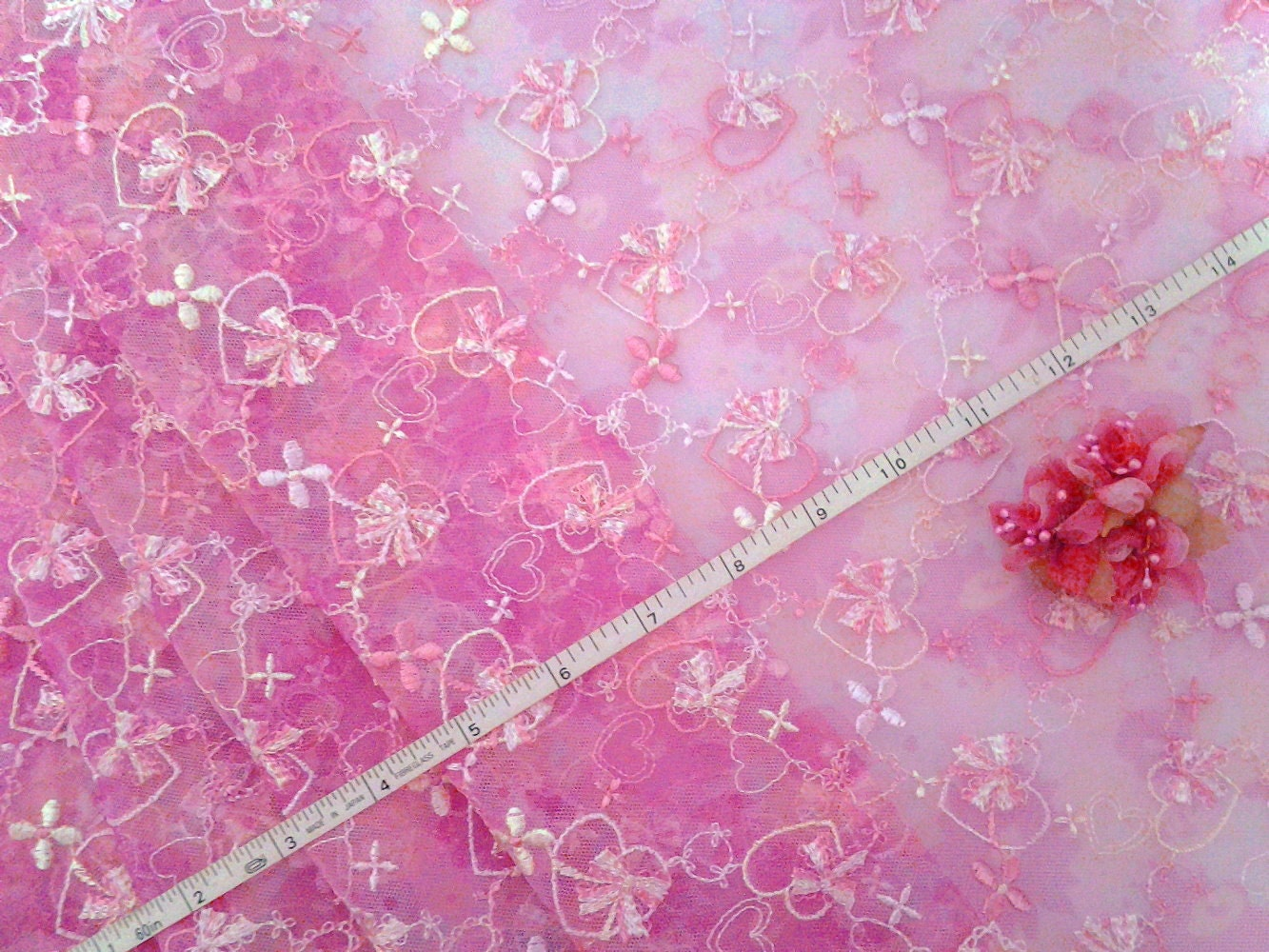 Lace fabric embroidered net