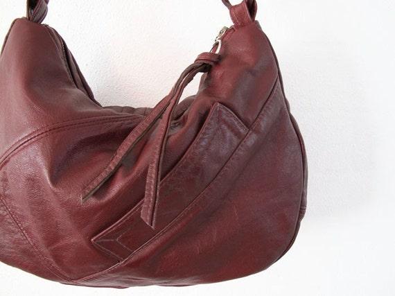 Recycled Leather Handbag Hobo Purse Medium ... Rich Burgundy Repurposed Vintage Jacket