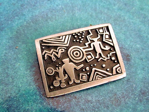 "Alice Warder Seeley ""Mothers Story"" Petroglyph Pewter Brooch"