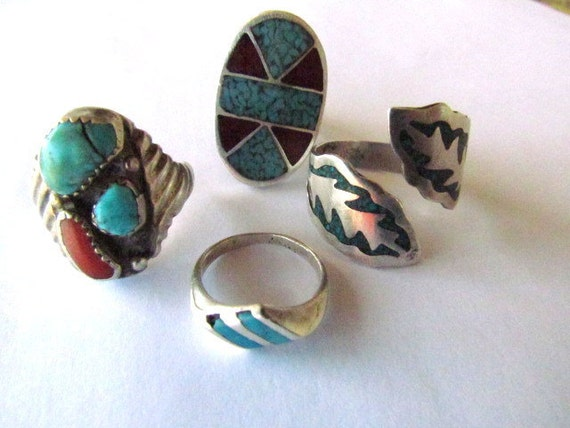 Lot Of Four Native American & Mexican Sterling Silver Rings For Repair