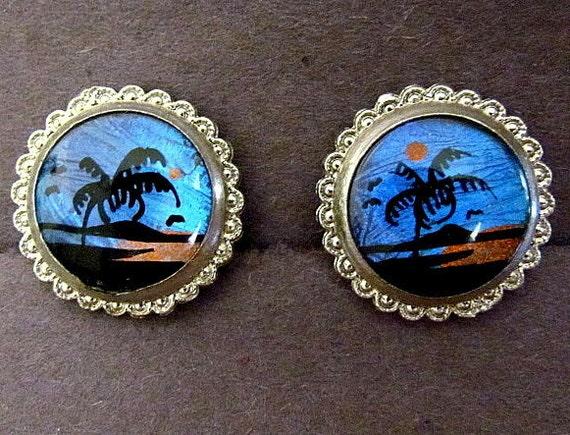 Vintage Sterling Silver Butterfly Wing Earrings