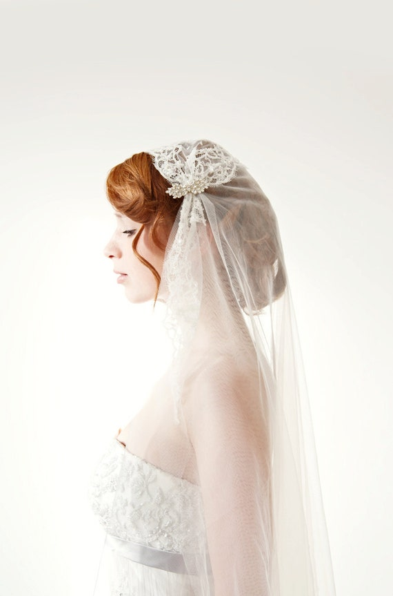 Wedding Veil Bridal Juliet Cap Lace Chapel